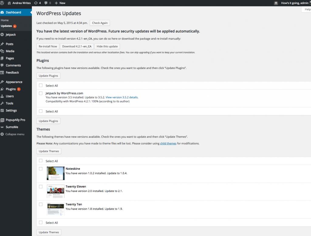 updates dashboard screenshot
