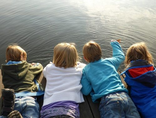 children on dock